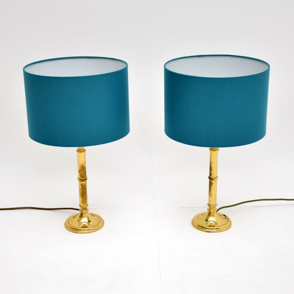 pair of retro vintage brass tables lamps