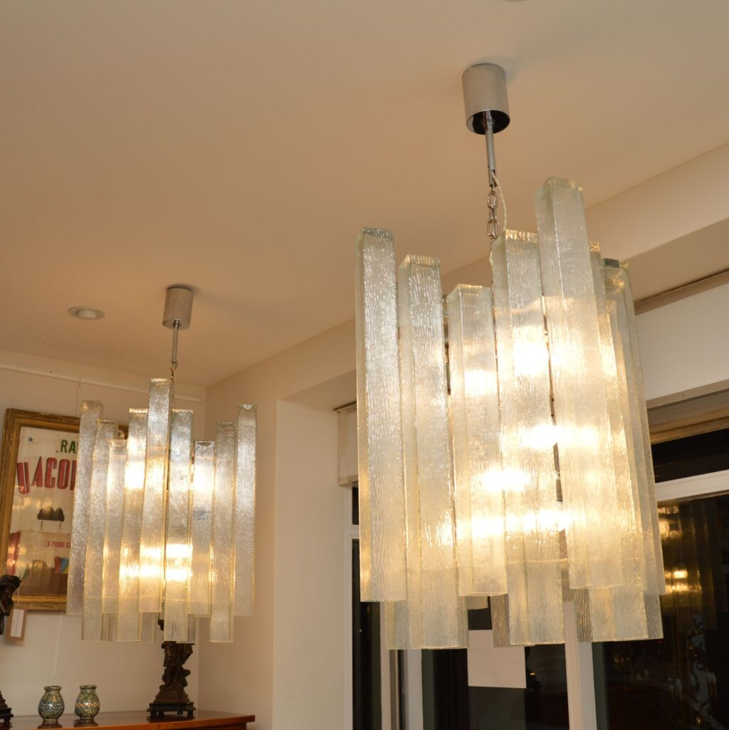 pair of vintage retro glass chandeliers doria leuchten