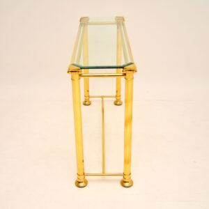 1970's Vintage Brass & Glass Console Table
