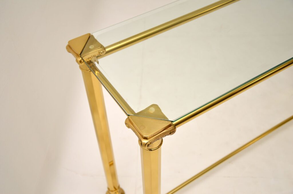 retro vintage brass hall console table