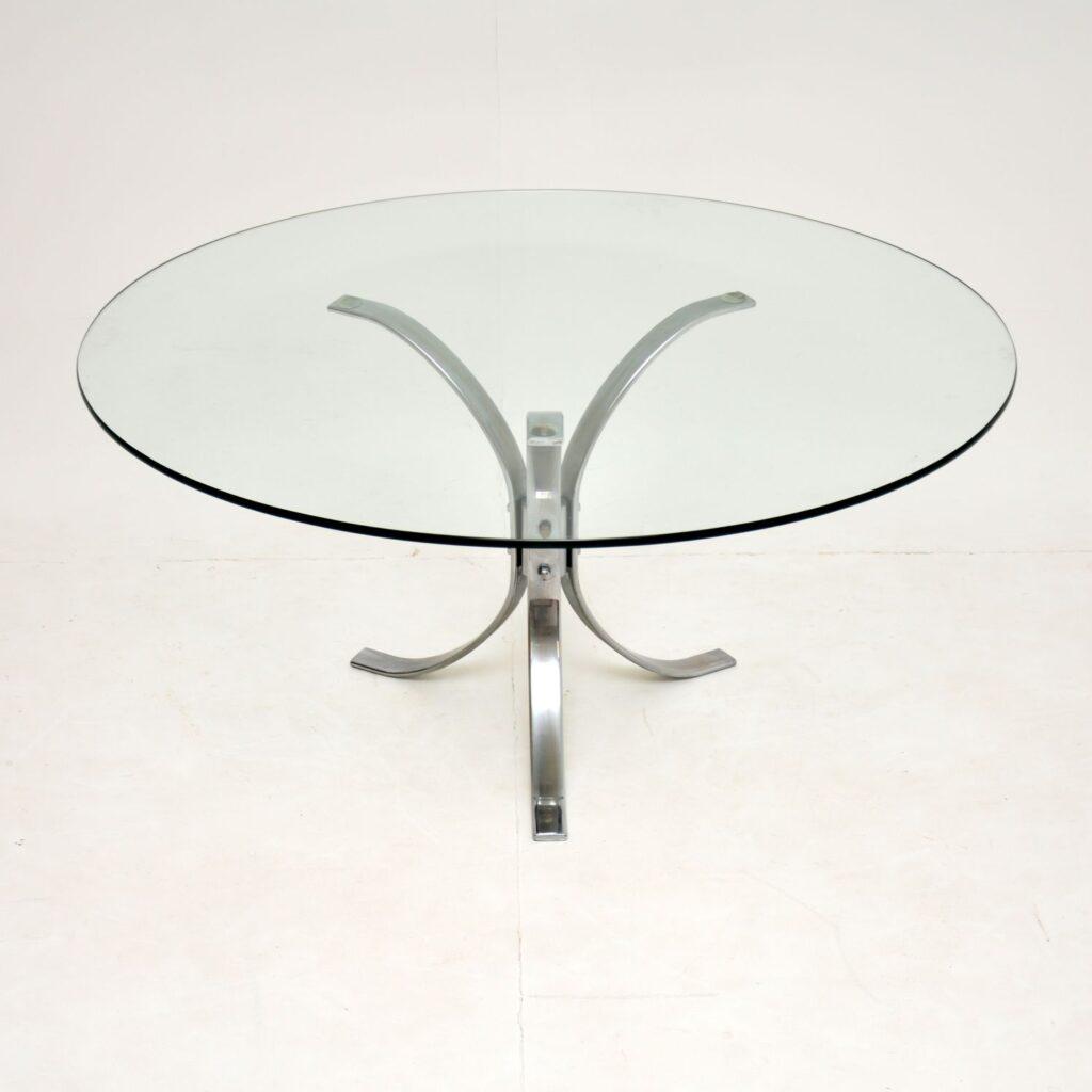 retro vintage chrome glass coffee table