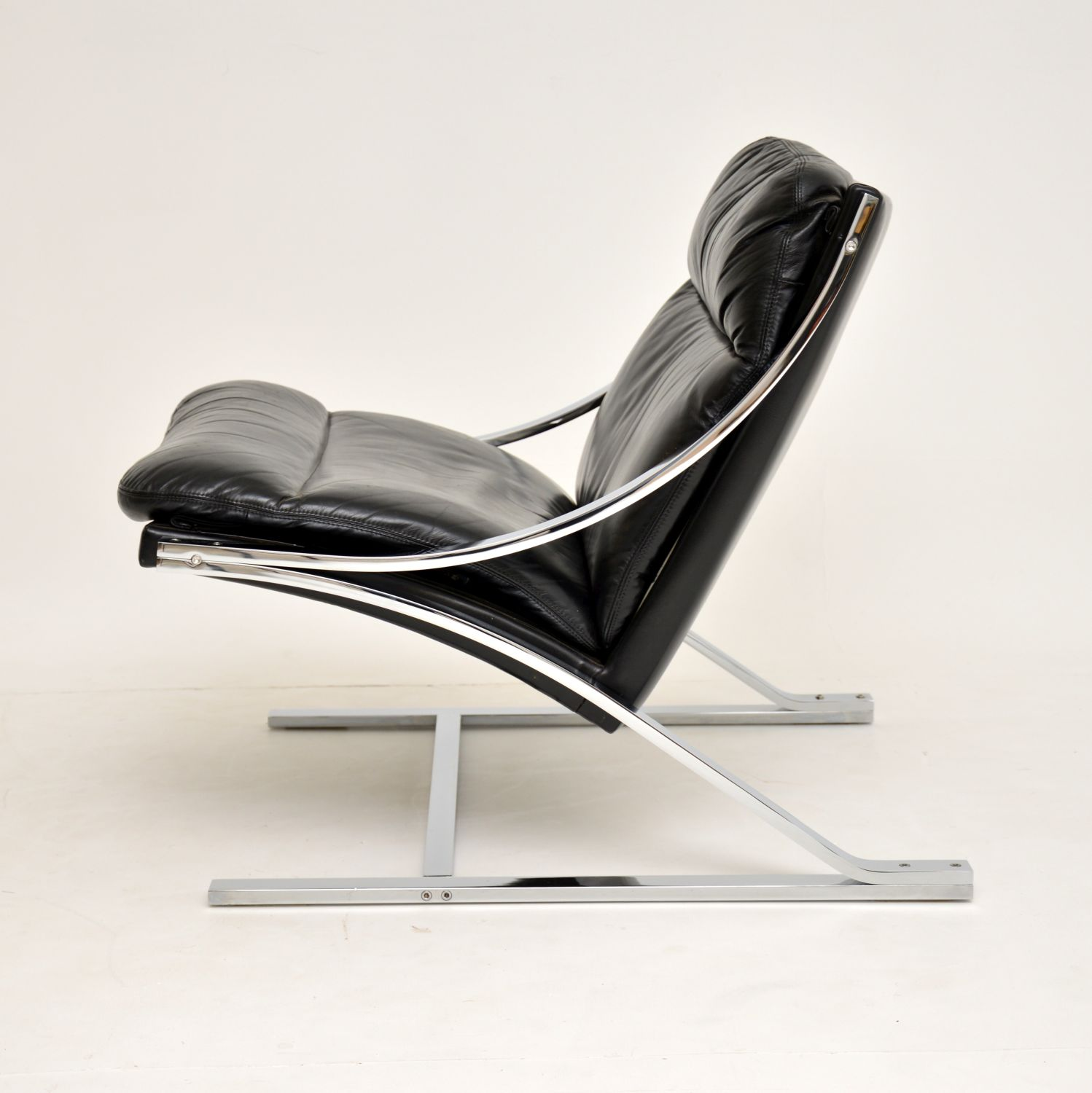 paul tuttle leather and chrome zeta chair strassle