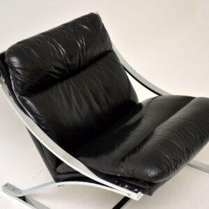 1960's Vintage Leather & Chrome Zeta Chair by Paul Tuttle for Strassle