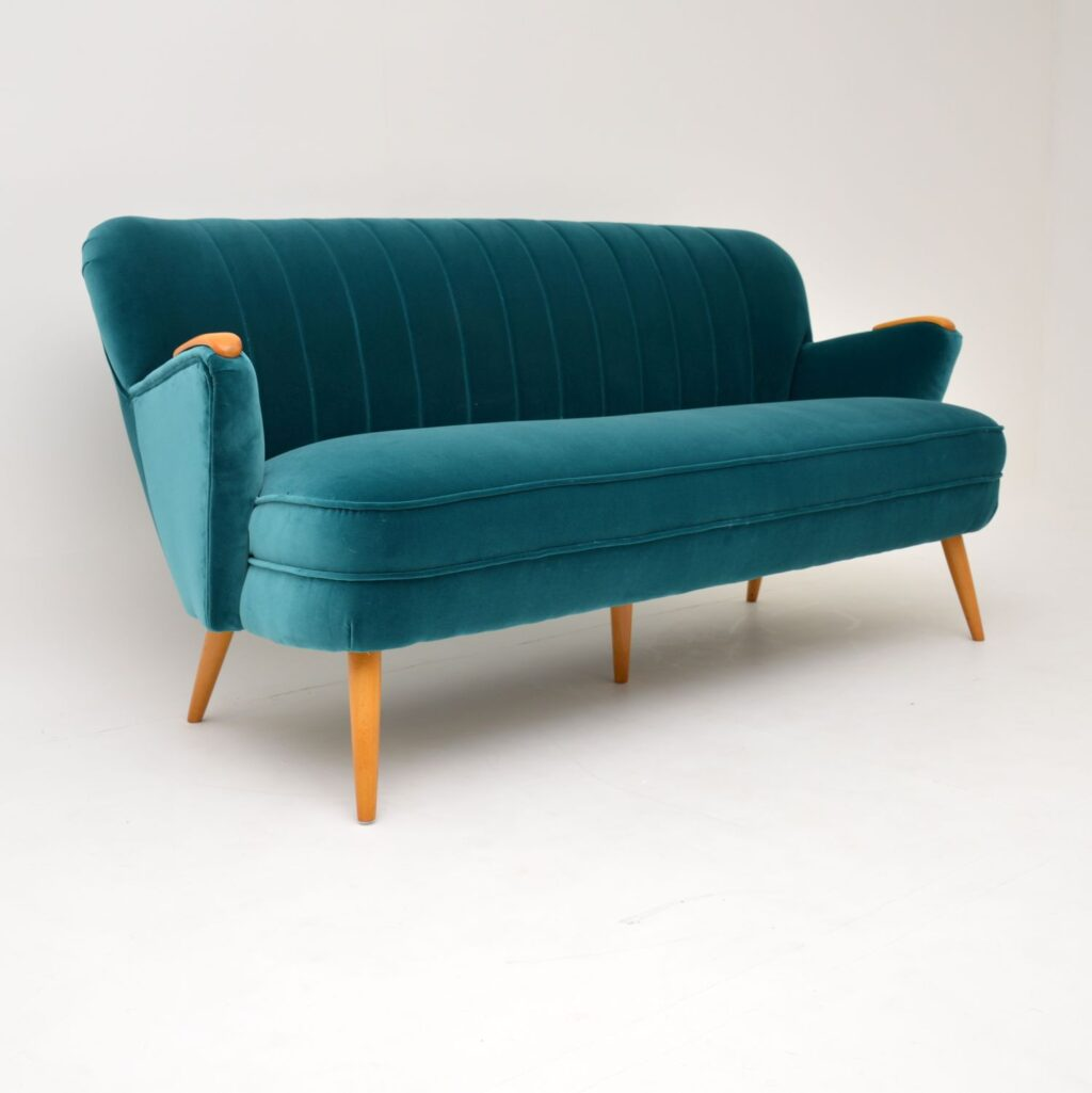 retro vintage german velvet cocktail sofa