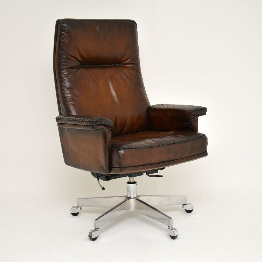 vintage retro leather swivel desk chair armchair de seded