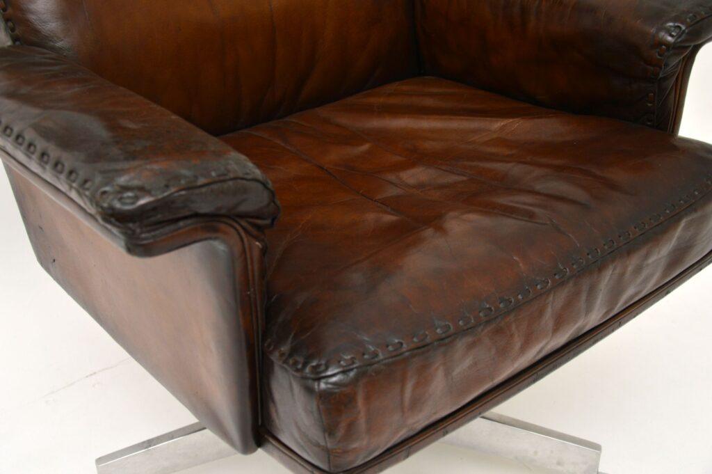 vintage retro leather swivel desk chair armchair de sede