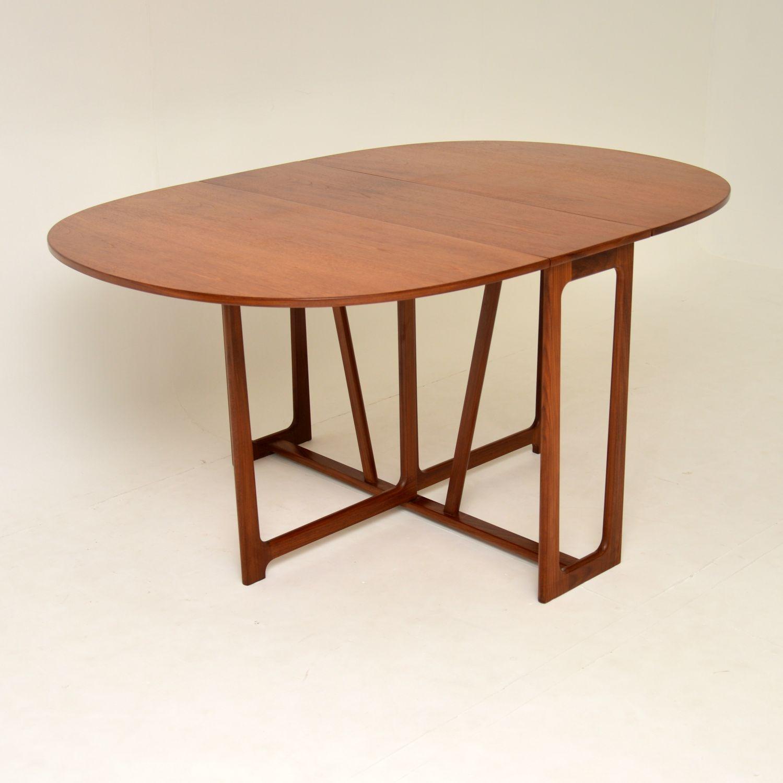danish retro vintage teak drop leaf dining table
