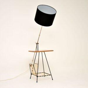 1950's Vintage Walnut & Steel Lamp Table