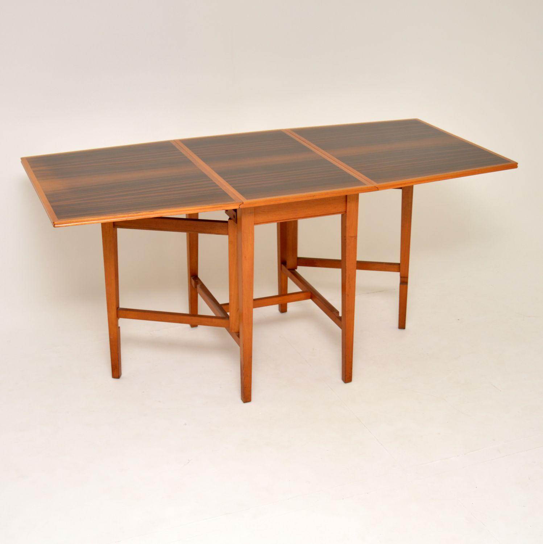 vintage retro drop leaf walnut dining table