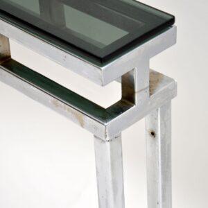 1970's Chrome & Glass Vintage Console Table