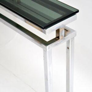 1970's Vintage Chrome & Glass Console Table