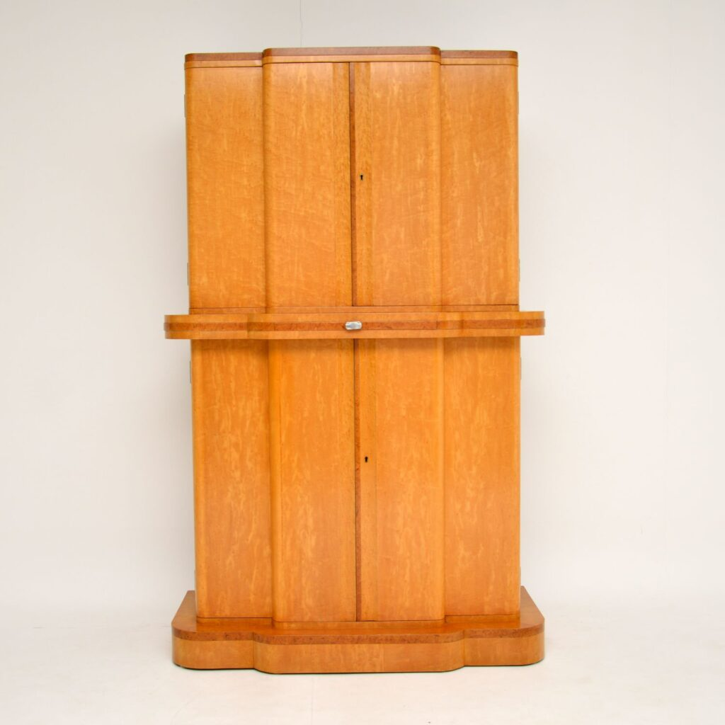 art deco epstein burr maple walnut cocktail drinks cabinet