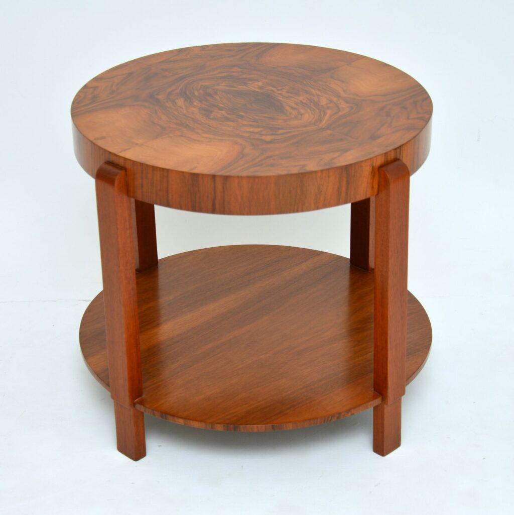 art deco burr walnut coffee table occasional table