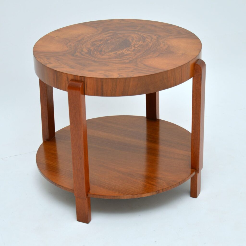 art deco burr walnut coffee table occasional table