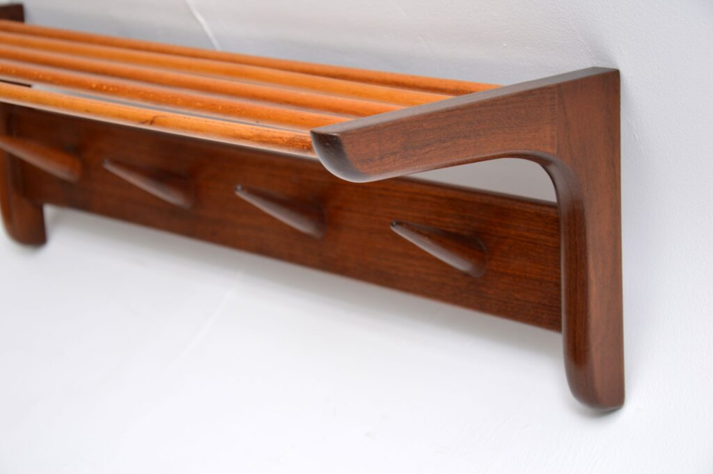 danish retro teak afromosia coat rack