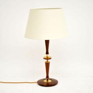 danish retro vintage teak table lamp