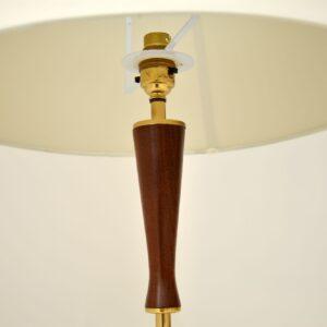 1960's Danish Vintage Teak & Brass Table Lamp