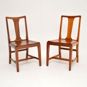 pair art deco solid mahogany side dining chairs