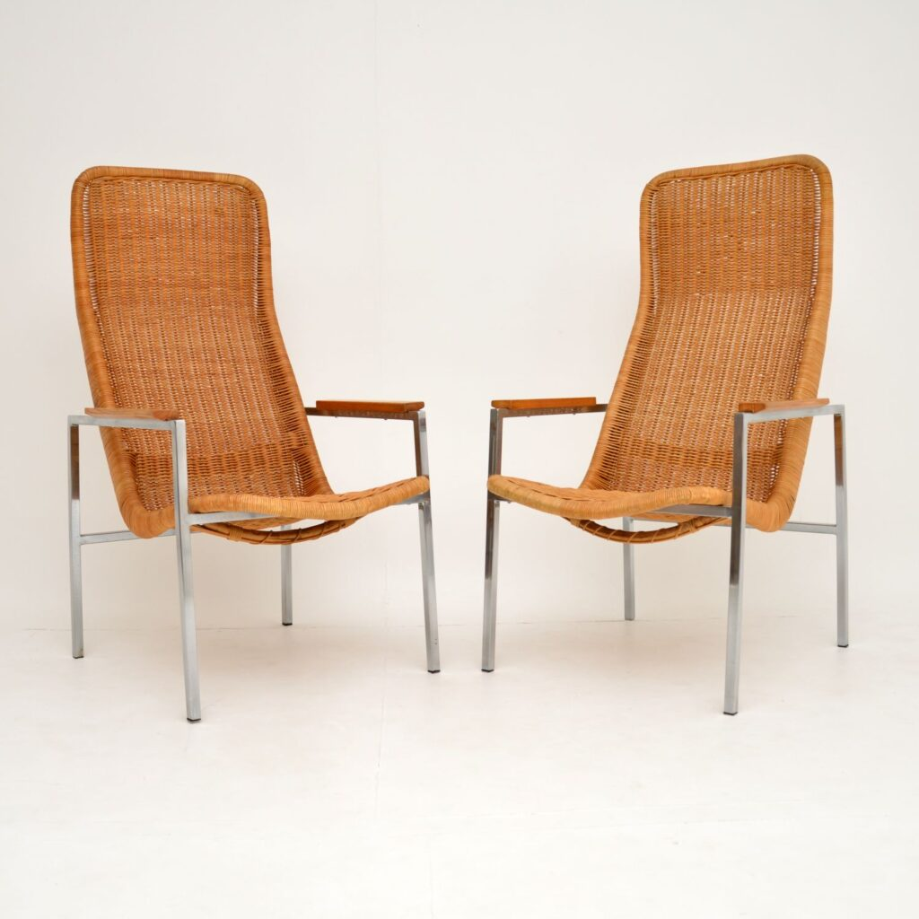 pair of retro vintage dutch steel & rattan armchairs dirk van sliedrecht
