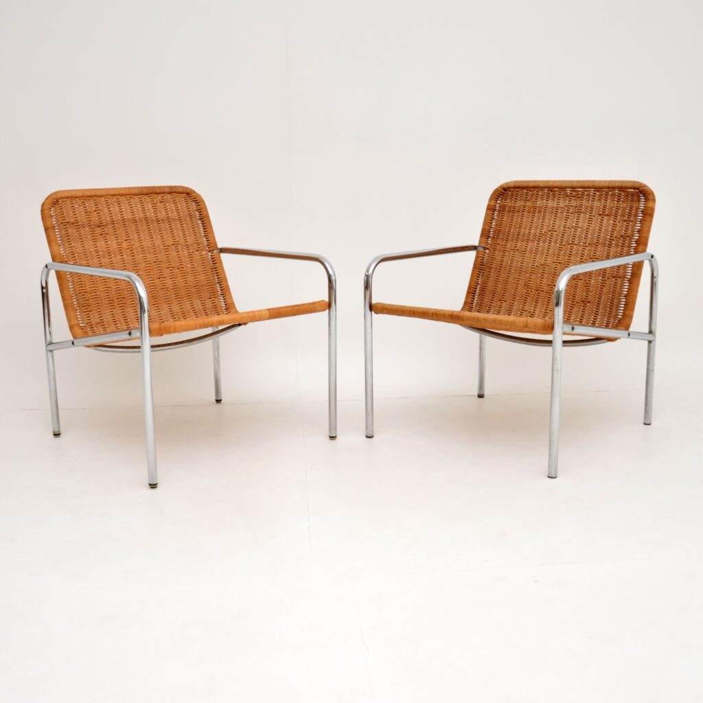 retro vintage dutch chrome steel rattan armchairs dirk van sliedrecht
