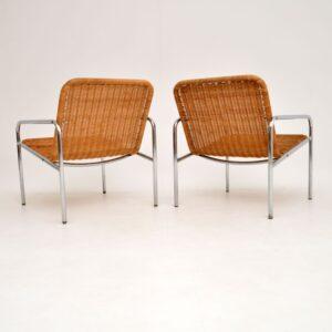 retro vintage dutch chrome steel rattan armchairs dirk van sliedrecht