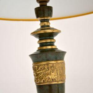 pair of retro vintage antique brass enamel table lamps