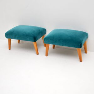 Pair of Vintage Armchairs & Ottomans c.1960's