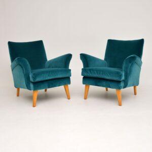 pair retro vintage g-plan armchairs foot stools ottomans vintage retro 1950's