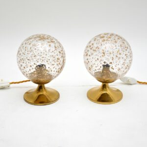 1960's Pair of Vintage Glass & Brass Lamps
