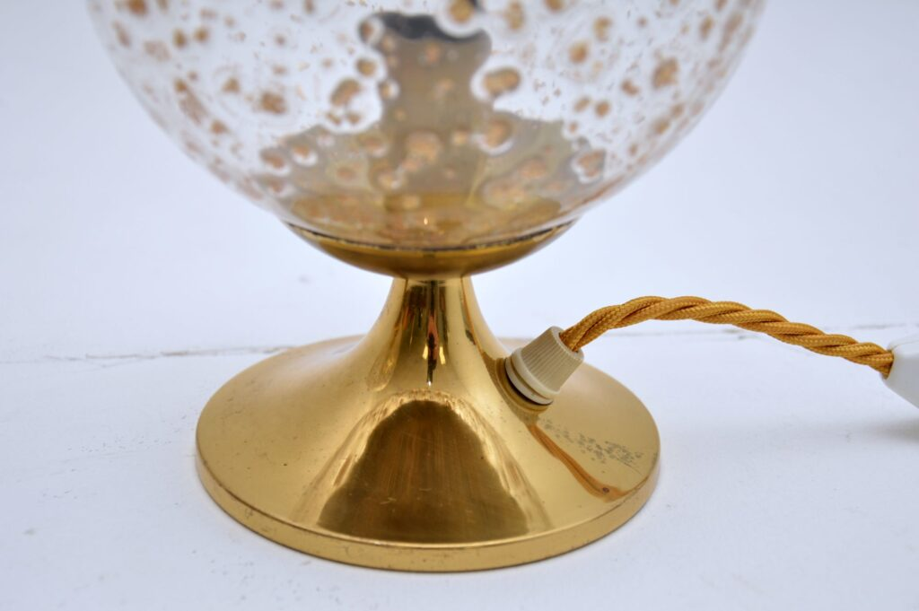 pair of retro vintage glass brass table lamps