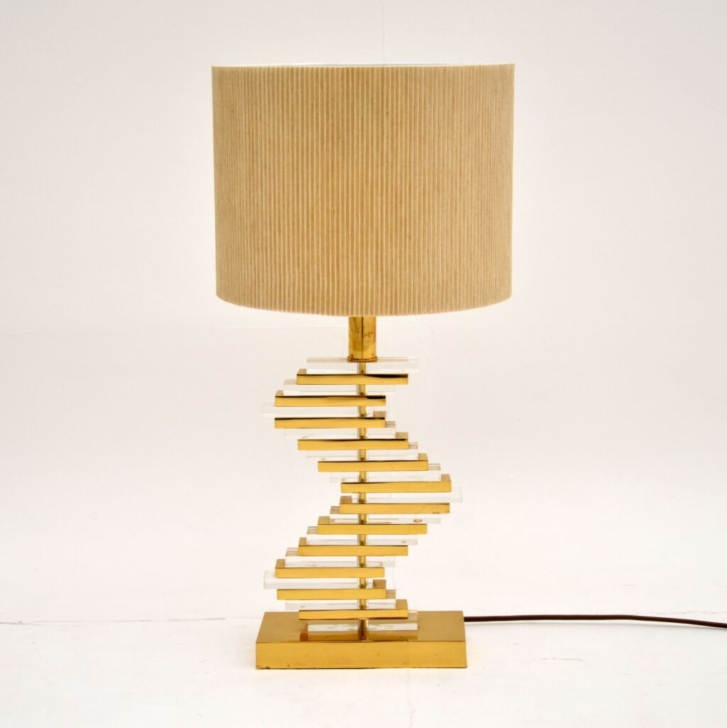 retro vintage brass lucite table lamp