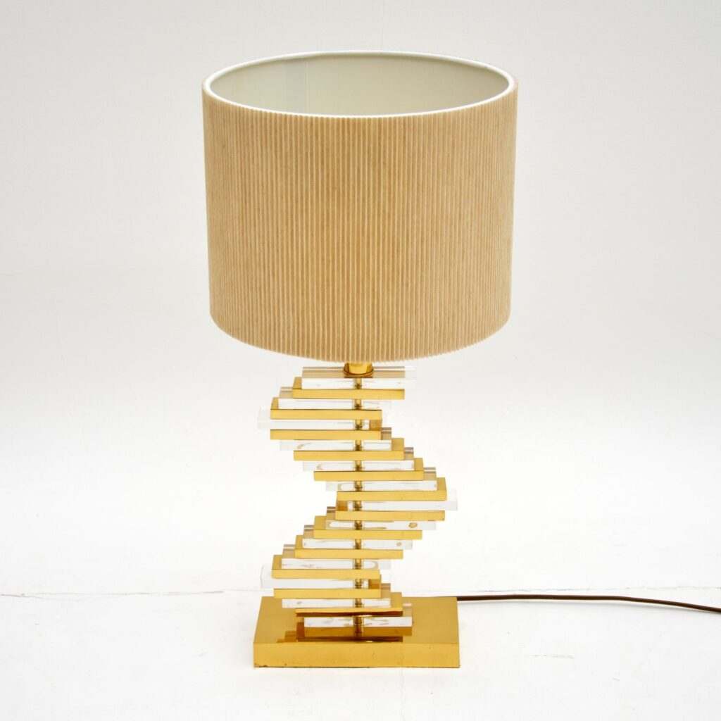 retro vintage brass lucite table lamp
