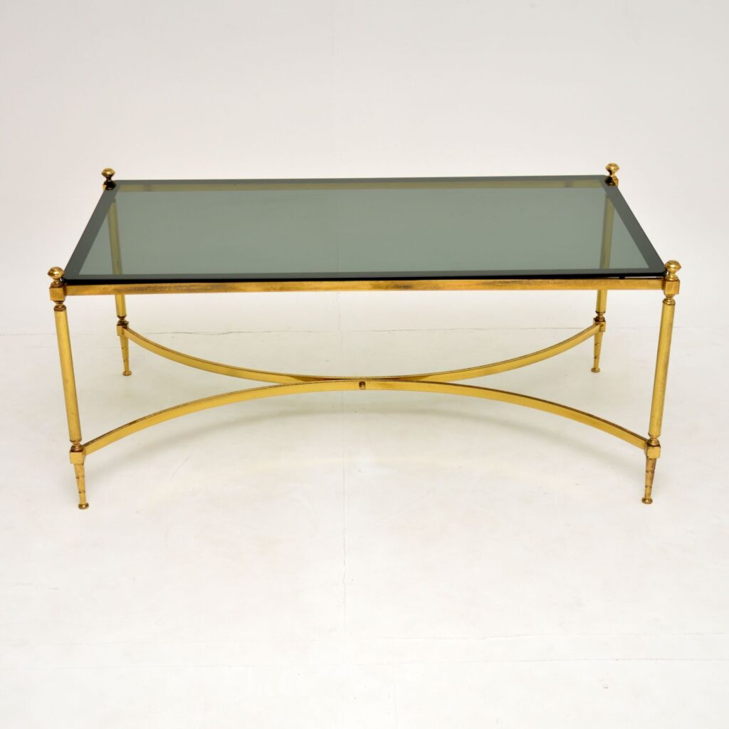 retro vintage french italian brass coffee table