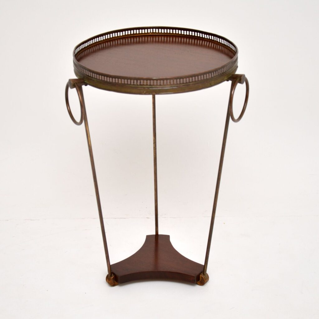 retro french vintage brass mahogany side table