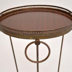 retro french vintage brass mahogany side table