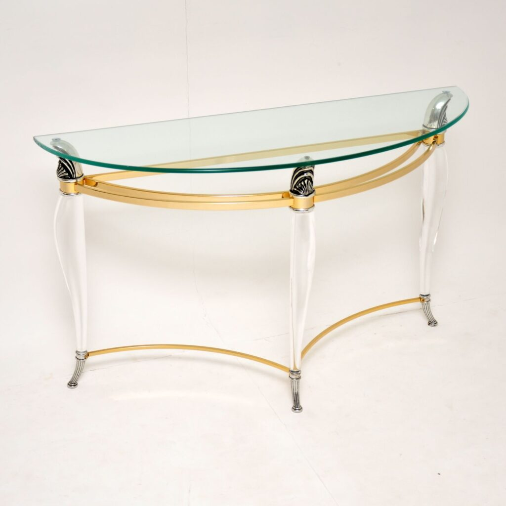 vintage retro acrylic lucite brass glass console table