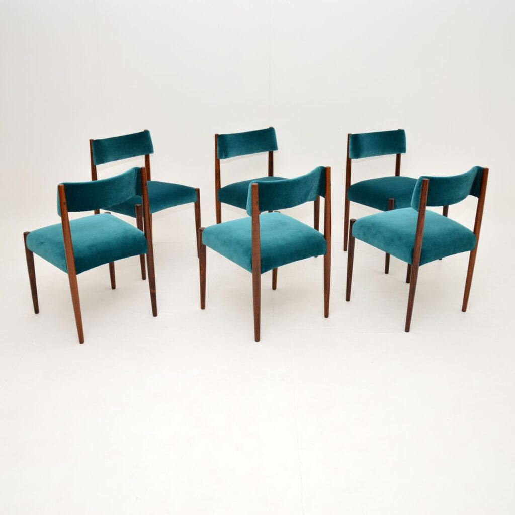 set of 6 danish rosewood british archie shine robert heritage dining chairs
