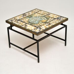 retro vintage tiled brass coffee table