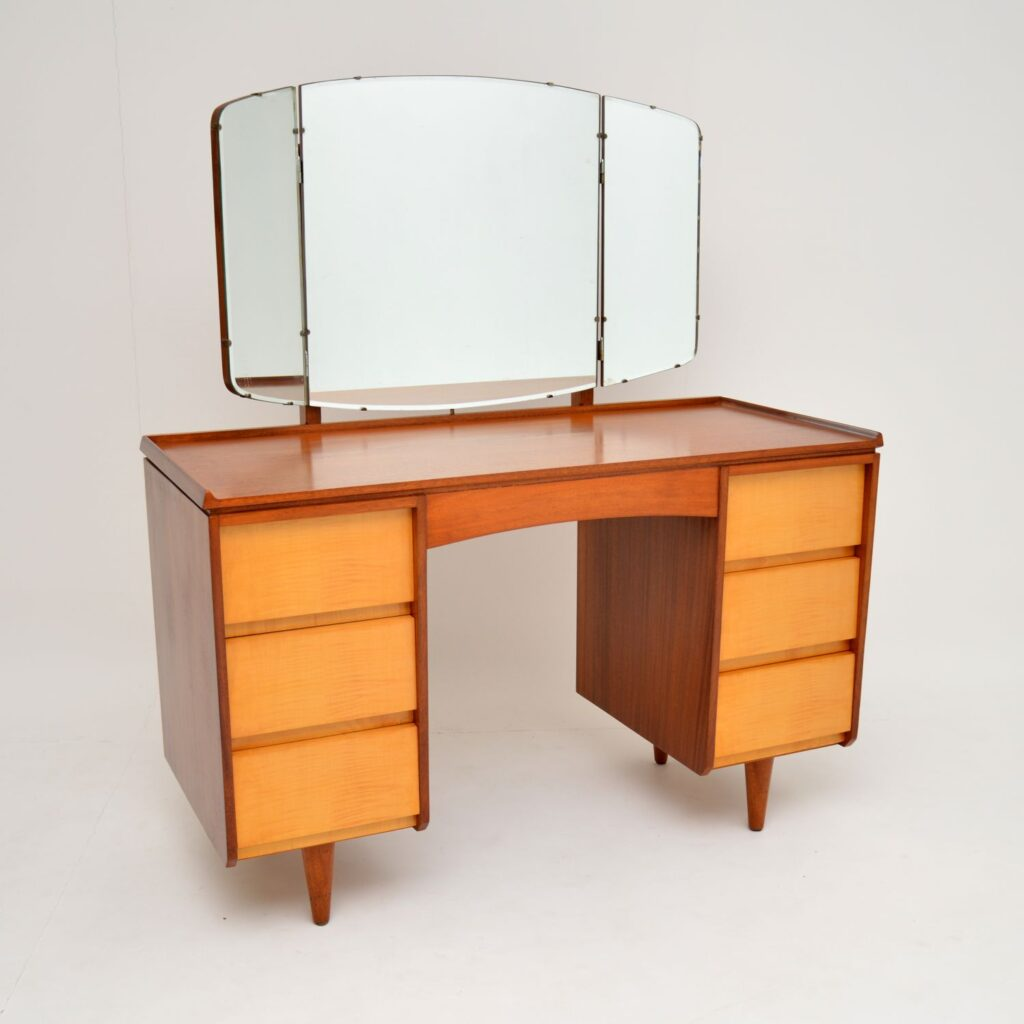 retro vintage walnut sycamore satin wood dressing table