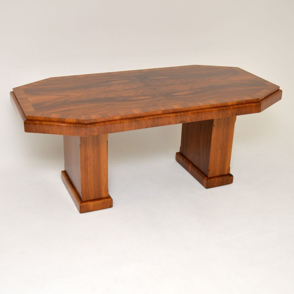 art deco figured walnut pedestal dining table