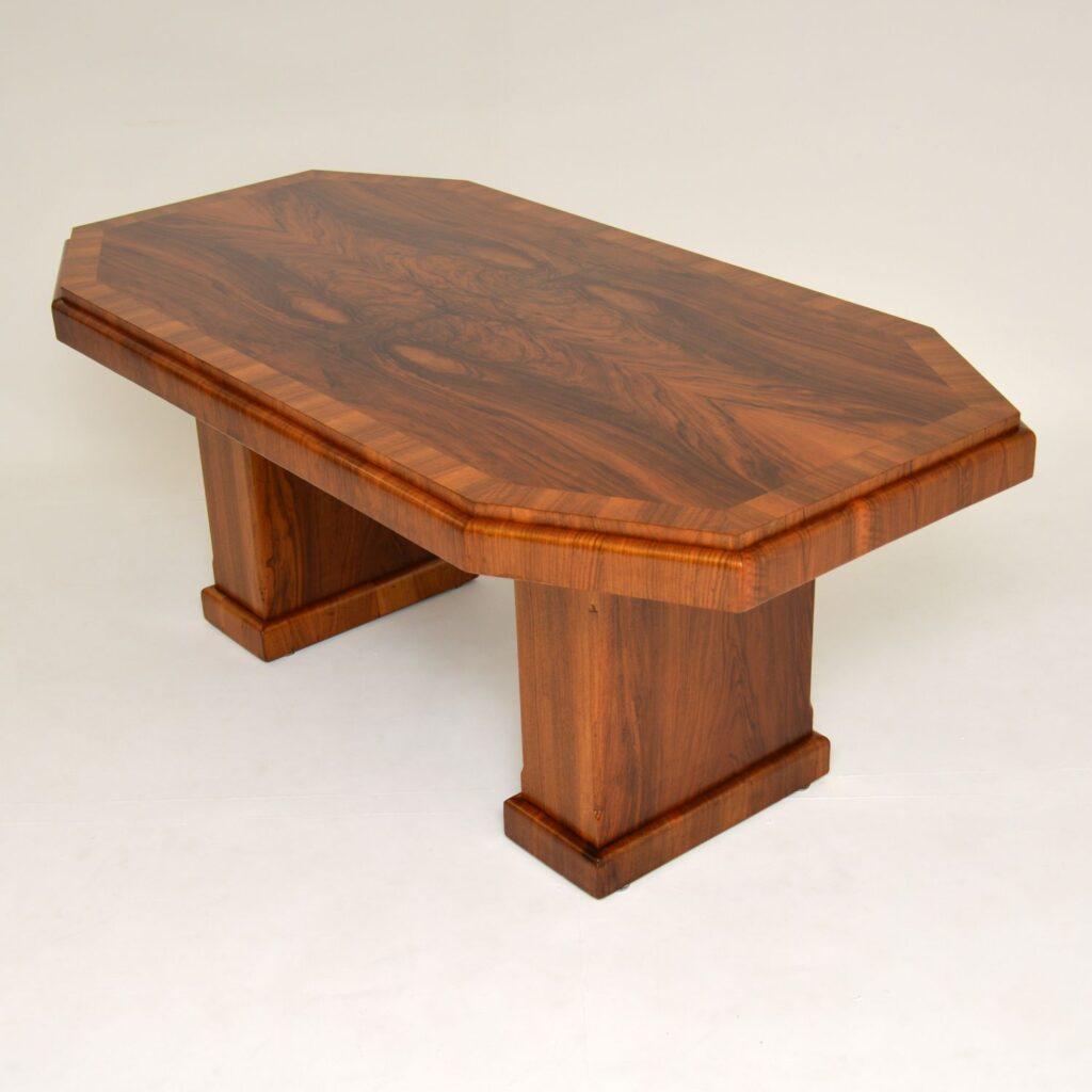 art deco figured walnut pedestal dining table