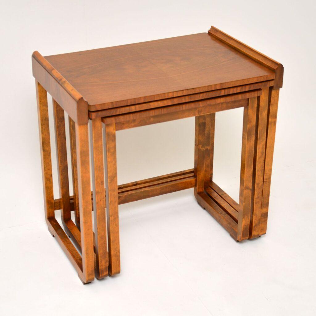 antique art deco walnut nest of tables