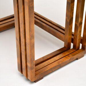 Original Art Deco Figured Walnut Nest of Tables