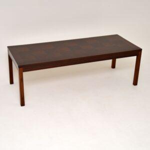 retro vintage danish rosewood coffee table by heggen