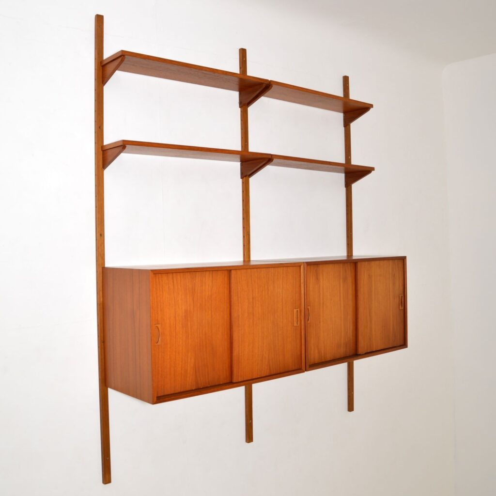 danish teak retro vintage wall mounting ps system bookcase cabinet