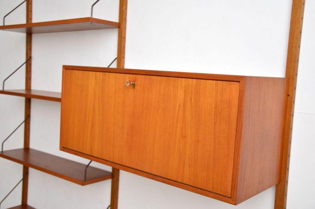 danish teak retro vintage bookcase cabinet bookshelves ps system