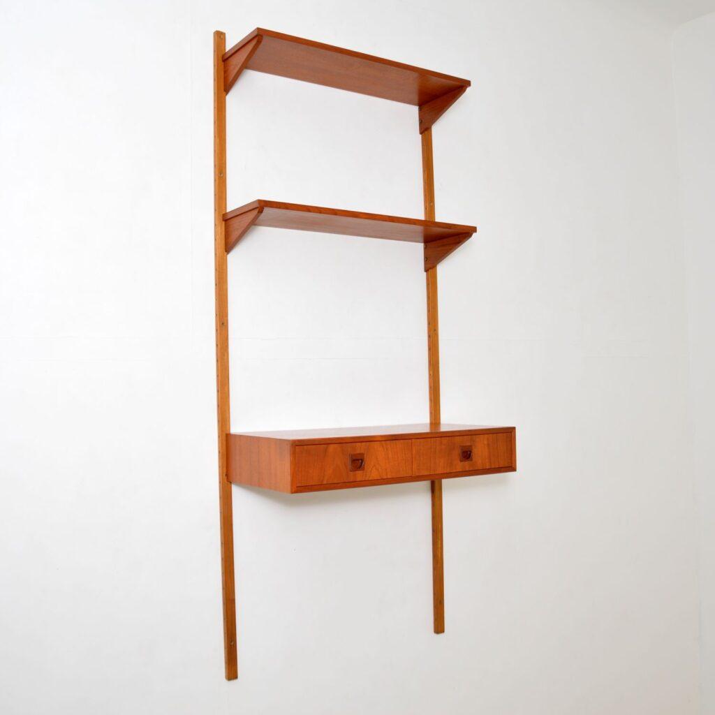 danish retro vintage teak ps wall system desk cabinet bookcase
