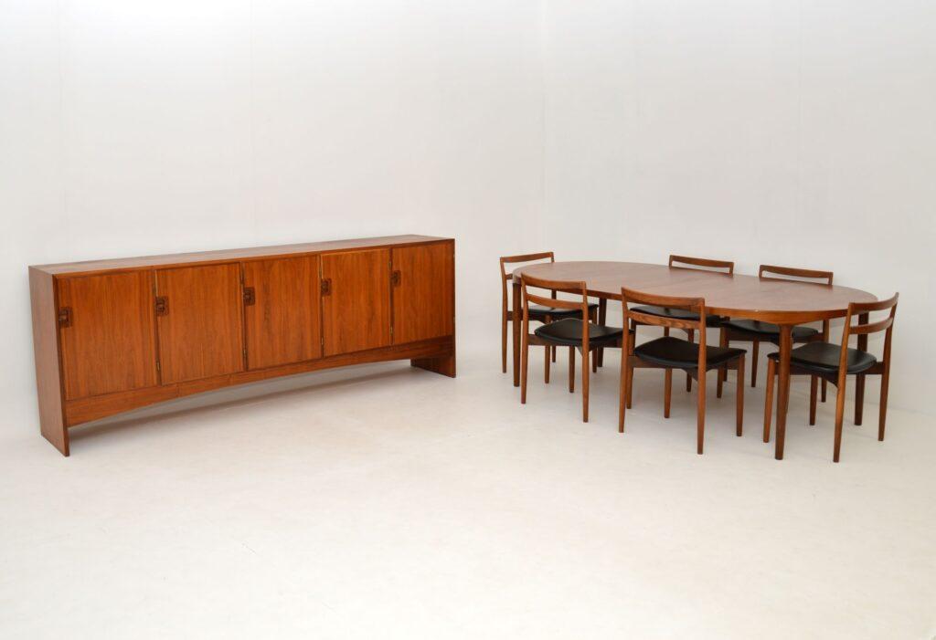 danish teak retro vintage dining table chairs harry ostergaard randers