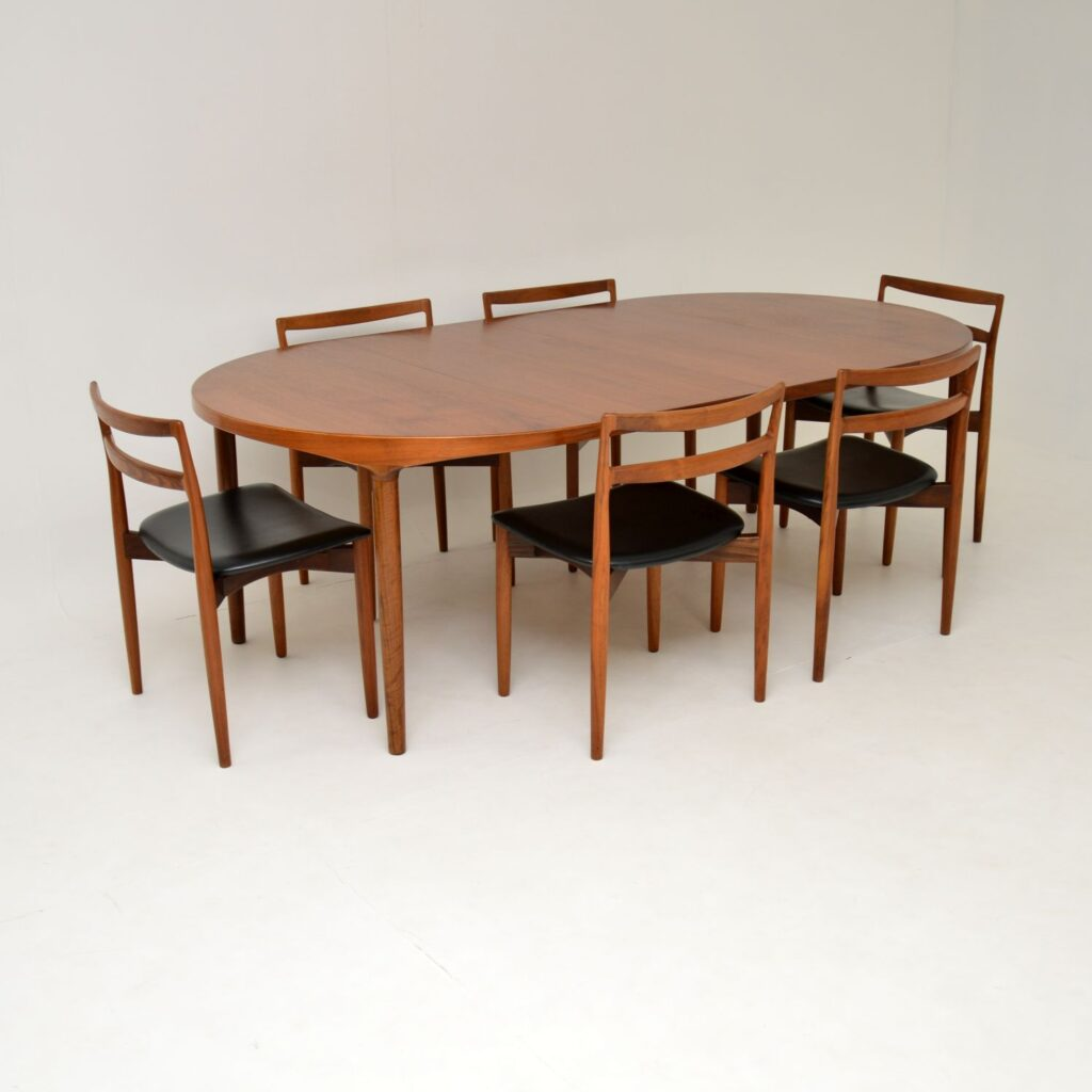 danish teak retro vintage dining table chairs harry ostergaard randers