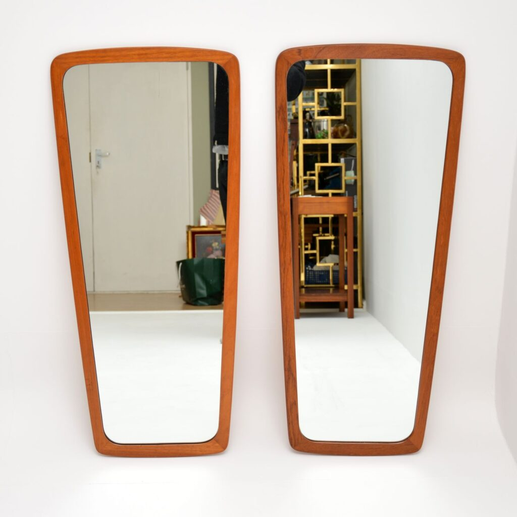 pair of danish retro vintage teak wall mirrors